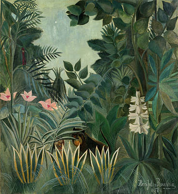 Rousseau Painting - The Equatorial Jungle by Henri Rousseau