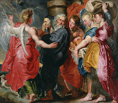 Painting - The Flight Of Lot And His Family From Sodom  by Jacob Jordaens
