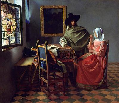 Jan Vermeer Painting - The Glass Of Wine by Johannes Vermeer