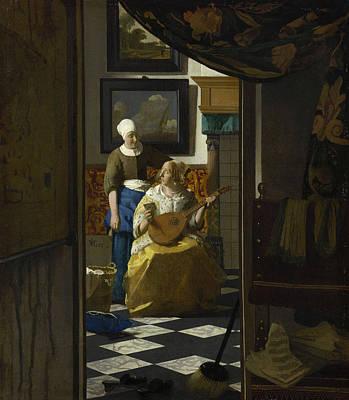 Jan Vermeer Painting - The Love Letter by Johannes Vermeer