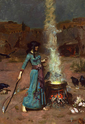 Crows Painting - The Magic Circle by John William Waterhouse
