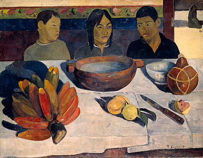 Knife Painting - The Meal by Paul Gauguin