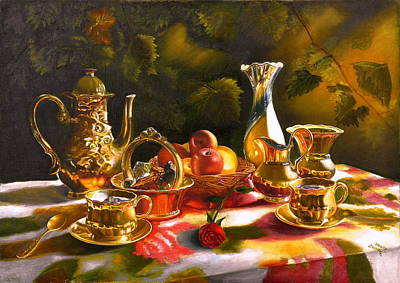 Tea Service Painting - The Memories. Tea Together. by Vasily Zolottsev