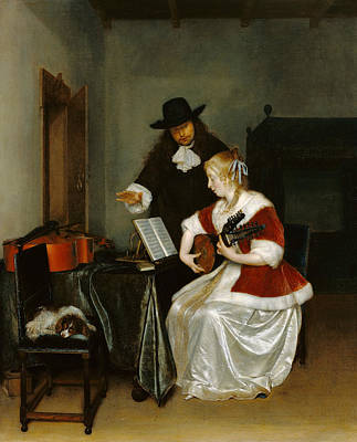 The Music Lesson Painting - The Music Lesson by Gerard ter Borch