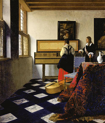 Interior Still Life Painting - The Music Lesson by Johannes Vermeer