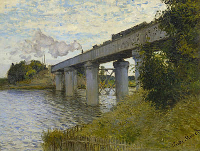 Train Crossing Painting - The Railroad Bridge In Argenteuil by Claude Monet