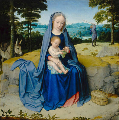Child Jesus Painting - The Rest On The Flight Into Egypt by Gerard David