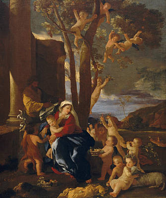 Nicolas Poussin Painting - The Rest On The Flight Into Egypt by Nicolas Poussin