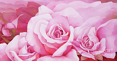 Bright Pink Painting - The Rose  by Myung-Bo Sim