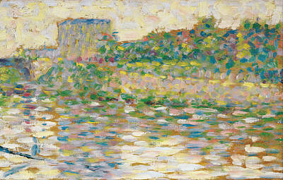 Georges Seurat Painting - The Seine At Courbevoie by Georges Seurat