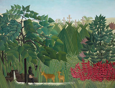 Rapids Painting - The Waterfall by Henri Rousseau