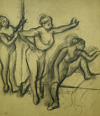 Degas Drawing - Three Dancers by Edgar Degas