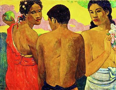 Outdoor Still Life Painting - Three Tahitians by Paul Gauguin