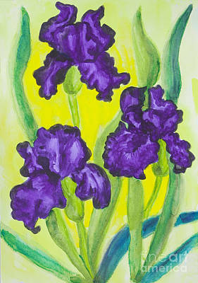 Painting - Three Violet Irises, Watercolor by Irina Afonskaya