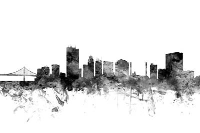 Silhouette Digital Art - Toledo Ohio Skyline by Michael Tompsett