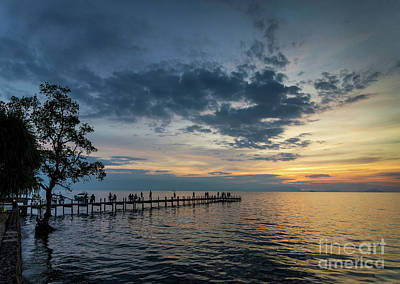 Photograph - Tourists View Sunset By Pier In Kep Town Cambodia Coast by Jacek Malipan