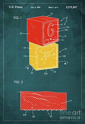 Toy Building Brick Patent Year 1958 Blueprint Art Print