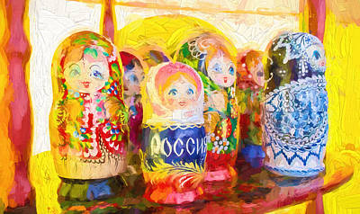 Photograph - Russian Puzzle Dolls Oil Painting Photographs by John Williams