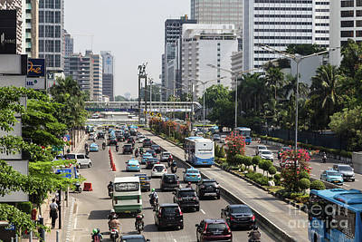 Photograph - Traffic Along Sudirman Avenue In Jakarta, Indonesia Capital City by Didier Marti
