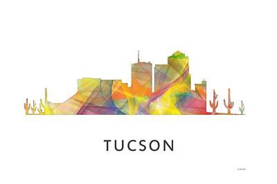 Tucson Digital Art - Tucson Arizona Skyline by Marlene Watson