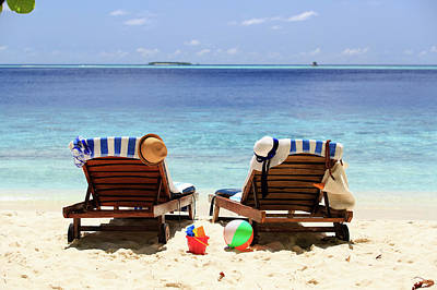 Resort Photograph - Two Chairs On The Tropical Sand Beach by NadyaEugene Photography