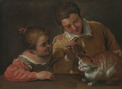Painting - Two Children Teasing A Cat by Annibale Carracci