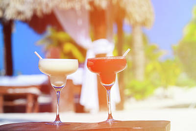 Cocktails Photograph - Two Cocktails On Luxury Tropical Beach by NadyaEugene Photography