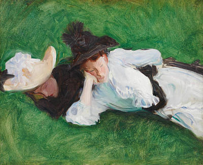 Painting - Two Girls On A Lawn by John Singer Sargent