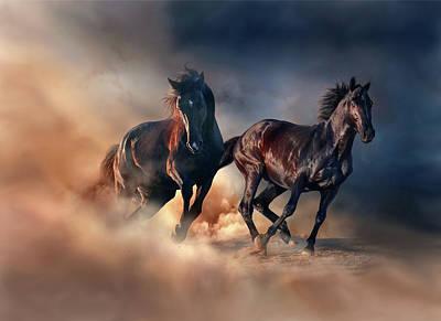 Digital Art - Two Horses by Lilia D