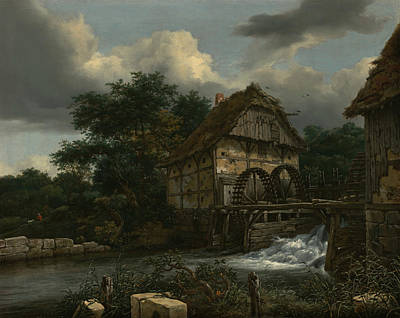 Painting - Two Watermills And An Open Sluice by Jacob van Ruisdael