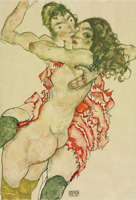 Expressionist Painting - Two Women Embracing by Egon Schiele