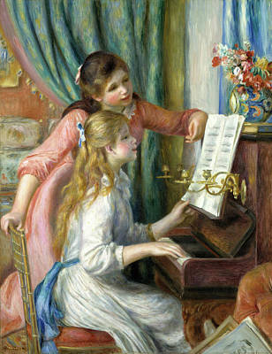 Painting - Two Young Girls At The Piano by Pierre-Auguste Renoir