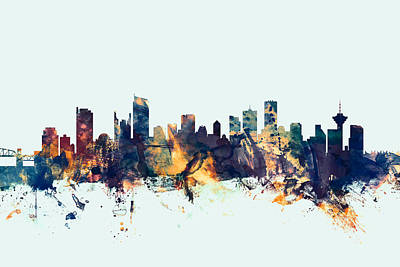 British Columbia Digital Art - Vancouver Canada Skyline by Michael Tompsett