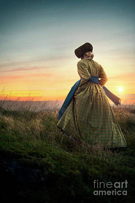 Photograph - Victorian Woman On The Moors At Sunset by Lee Avison