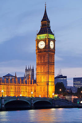 London Photograph - View Of Big Ben And Houses by Panoramic Images