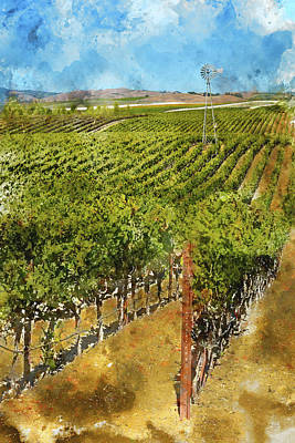 Soil Digital Art - Vineyard In Napa Valley California by Brandon Bourdages