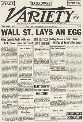 Black Commerce Photograph - Wall Street Crash, 1929 by Granger