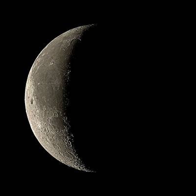 Period Photograph - Waning Crescent Moon by Eckhard Slawik