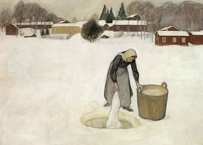 Pekka Wall Art - Painting - Washing On The Ice by Pekka Halonen