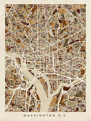 Washington Dc Street Map Art Print by Michael Tompsett
