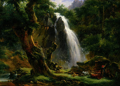Mountain Goat Art Painting - Waterfall At Mont - Dore by Achille - Etna Michallon