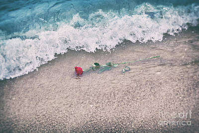 Photograph - Waves Washing Away A Red Rose From The Beach. Vintage. Love by Michal Bednarek