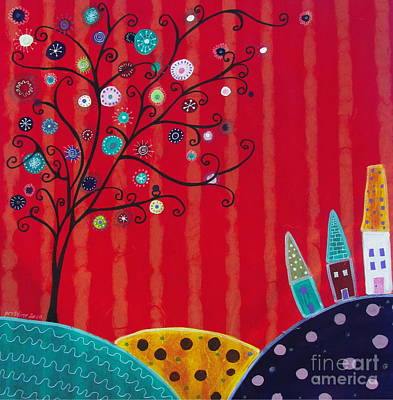 Mexican Town Painting - Whimsical Town by Pristine Cartera Turkus
