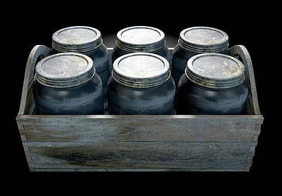 Whiskey Jars In A Crate Art Print by Allan Swart