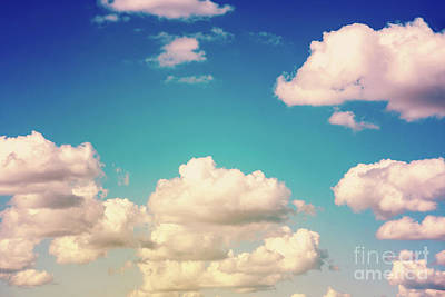 Grey Clouds Photograph - White Cumulus Clouds On Blue Sky by Radu Bercan