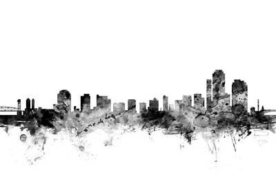 Wilmington Delaware Skyline Art Print by Michael Tompsett