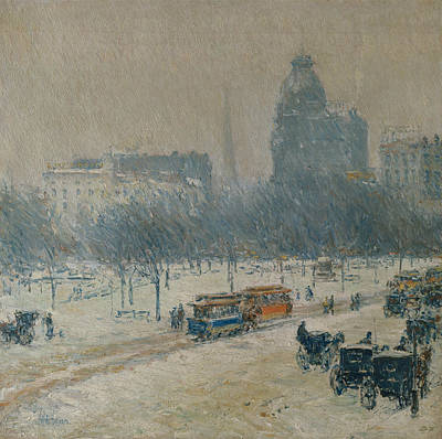 Winter In Union Square Art Print by Childe Hassam