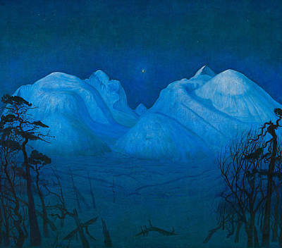 Painting - Winter Night In The Mountains by Treasury Classics Art