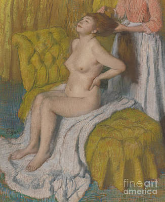Pastel - Woman Having Her Hair Combed by Edgar Degas