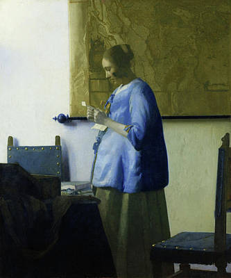 Pregnant Woman Painting - Woman Reading A Letter by Johannes Vermeer
